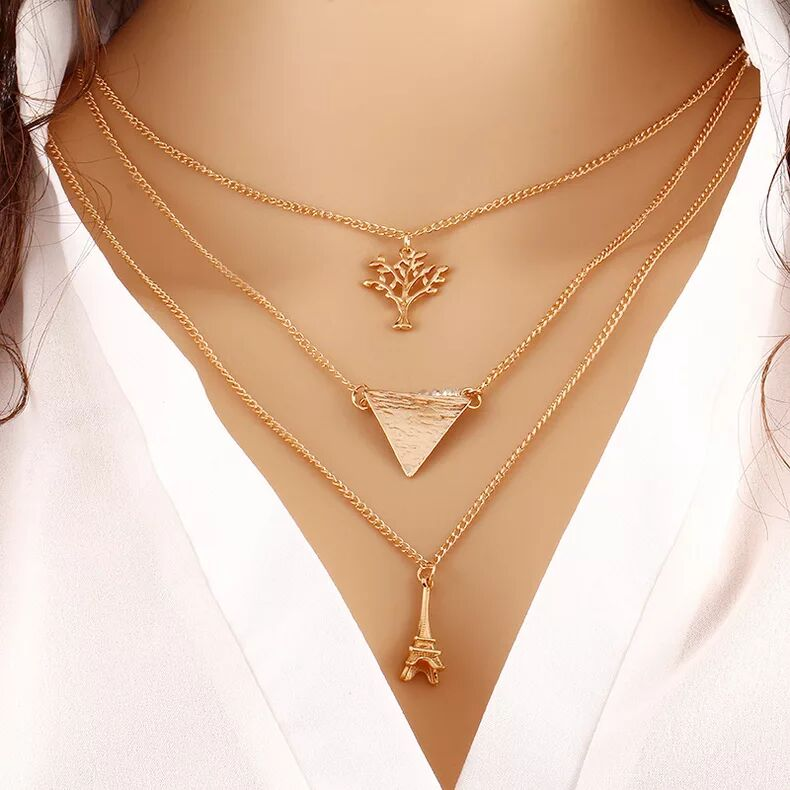 fashion handmade DIY gold chain necklace,the tree and the Eiffel Tower necklace for lovers