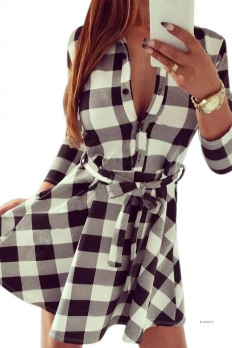 Stylish Ladies Plaid Check Belt Shirt Skater Dress Women Lapel 3/4 Sleeve Slim Button Dress SV028904