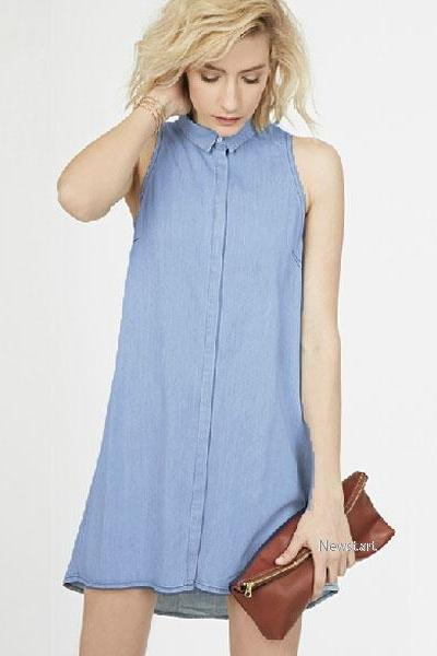 Denim Short Sleeveless Shirt Dress
