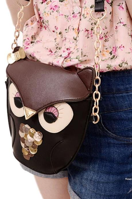 New Women's Lady Splicing Color Cross Body Bag Owl Pattern Holder Cover Bag Hand bag