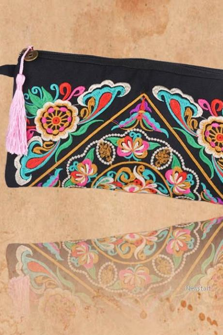 New Women Bag Handbag Wallet Purse National Retro Embroidered Phone Change Coin With Tassel SV005990