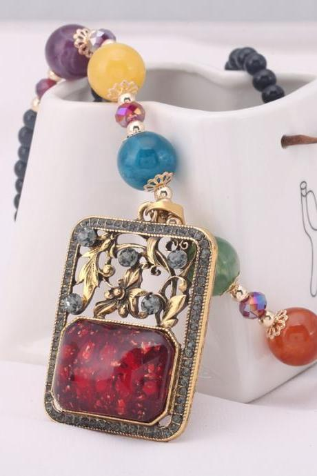 handmade agate pendants ethnic stone beads original long necklaces for women trendy party jewelry accessories gift