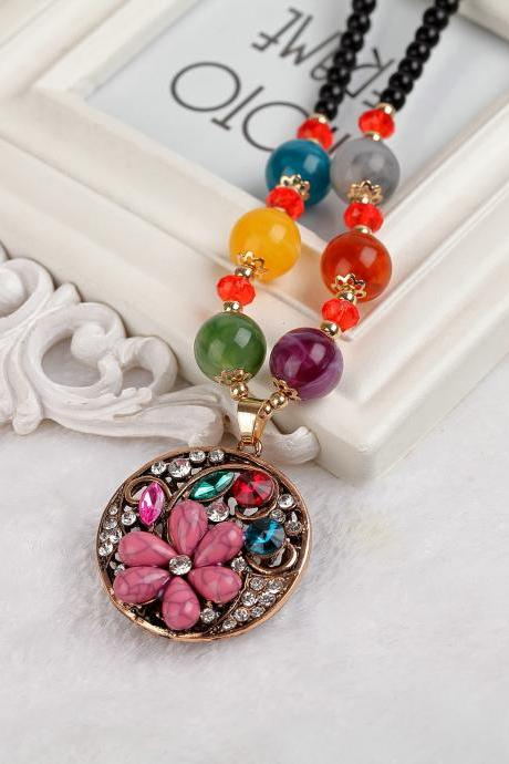 handmade agate pendants ethnic stone beads original long necklaces for women trendy party jewelry accessories gift 300