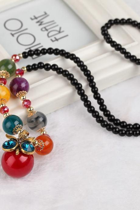 handmade agate pendants ethnic stone beads original long necklaces for women trendy party jewelry accessories gift 302