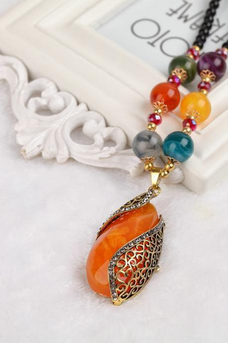 handmade agate pendants ethnic stone beads original long necklaces for women trendy party jewelry accessories gift 305