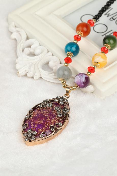 handmade agate pendants ethnic stone beads original long necklaces for women trendy party jewelry accessories gift 312