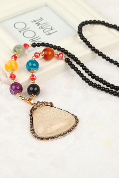 handmade agate pendants ethnic stone beads original long necklaces for women trendy party jewelry accessories gift 324