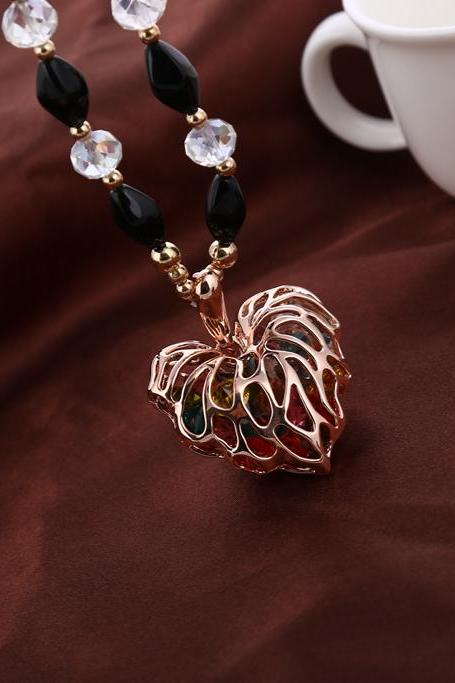 hollow out heart shape necklace women long chain necklace gold 123