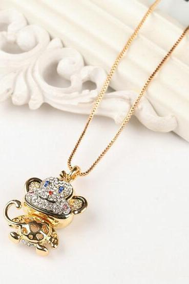 Cute Monkey Crystal Necklace With Long Gold Chain