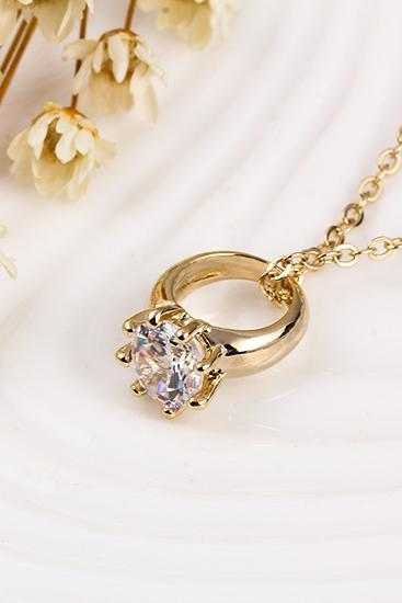 women fashion gold diamond ring necklace 32037