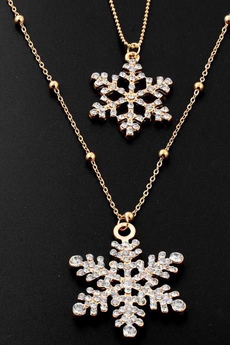 women fashion necklace DIY personalized necklace gold snowflake style 32L26