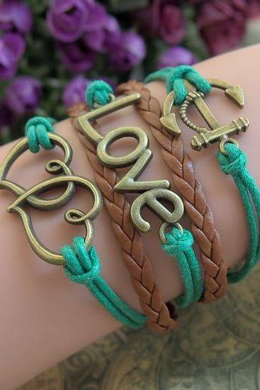 Women Leahter Bracelet Handmade DIY Leather Cute Charm Bracelet Jewelry