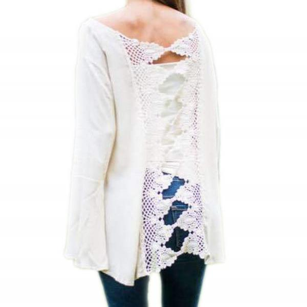 Stylish Ladies Women Sexy Lady Long Flare Sleeve Back Lace Hollow Out Casual Top Blouse Shirt