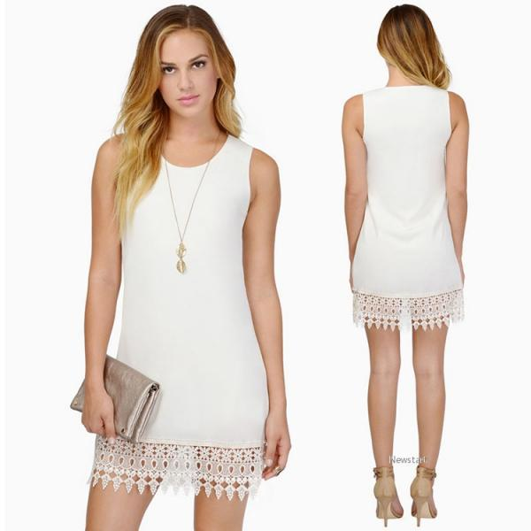 Stylish Ladies Women Casual Party Career Mini Dress Sleeveless Chiffon O-neck Solid Dress SV023893