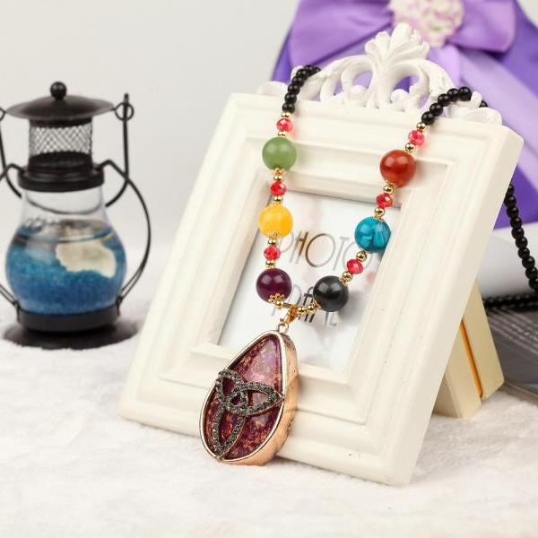 handmade agate pendants ethnic stone beads original long necklaces for women trendy party jewelry accessories gift 316