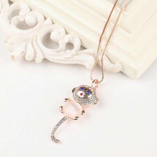 Baby Monkey Animal Crystal Necklace