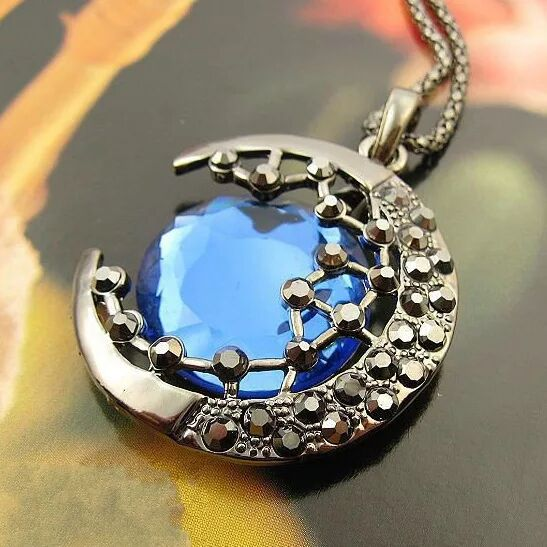 Moon Crescent and Blue Gemstone Necklace